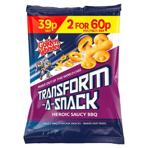 Golden Wonder Transform-A-Snack Heroic Saucy BBQ Flavour Snacks 30g (UK)